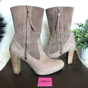 UGG Shoes - UGG Athena Suede Leather Stacked Heel Zip Up Boots